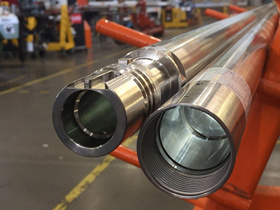 Both ends of a long Inconel pressure housing